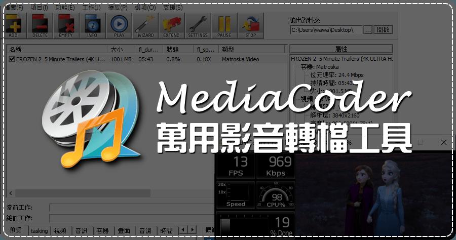MediaCoder 0.8.60 免費萬用影音轉檔工具