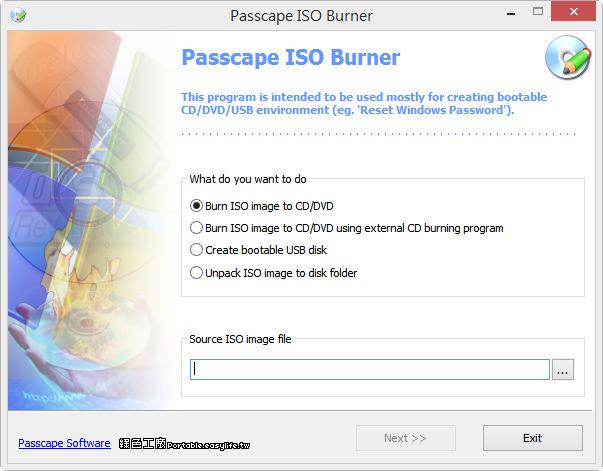 Passcape ISO Burner 1.4.3 影像檔燒光碟、製作開機 USB 通通搞定