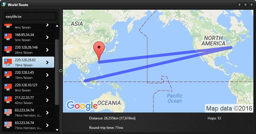 World Route 1.0 視覺化路由追蹤陽春版,立刻知道 Domain/IP 的所在國家