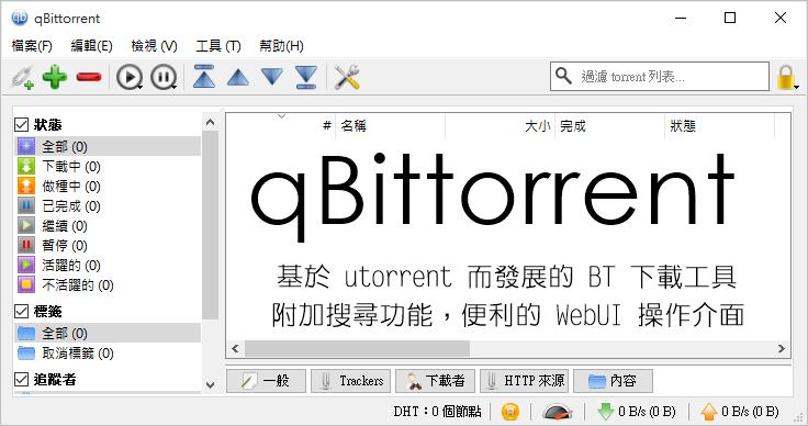 qBittorrent 3.3.1 基於 utorrent 而發展的 BT 下載工具,附加搜尋功能,便利的 WebUI 操作介面