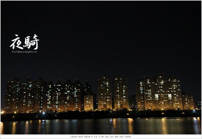 台北河濱夜騎。社子島