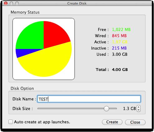 Mac RamDisk。Ultra Ram Disk