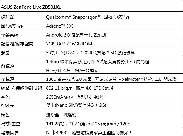 華碩直播手機 ZenFone Live