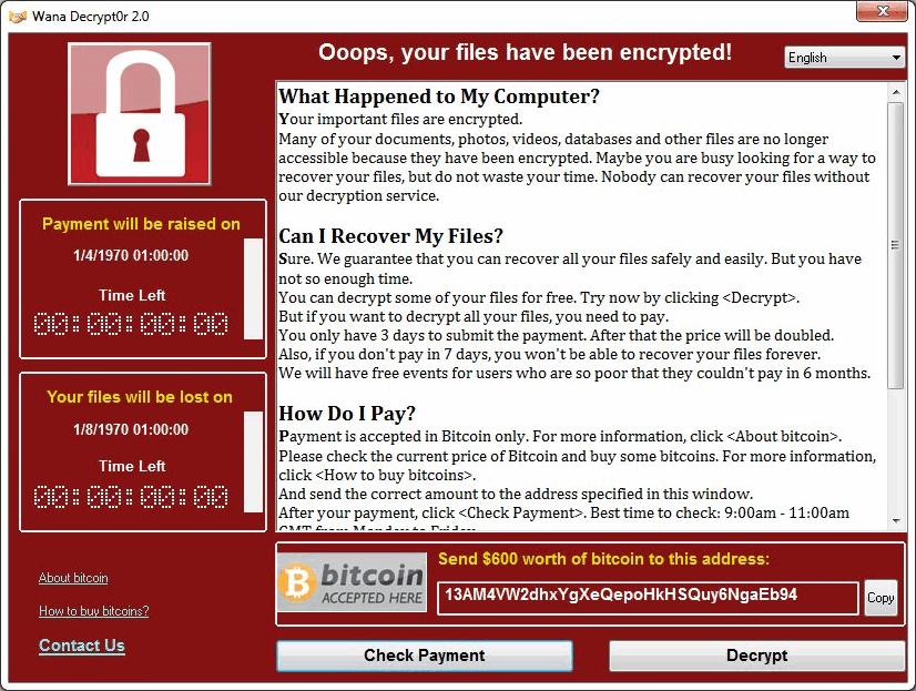 WanaCrypt0r 2.0 勒索病毒