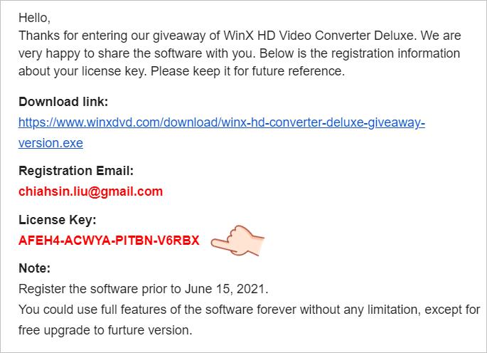 WinX HD Video Converter Deluxe Free License