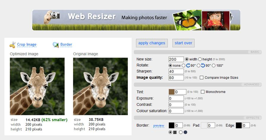 免軟體 Web Resizer 線上調整圖片工具