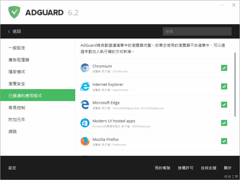 Adguard 阻擋廣告、阻擋惡意軟體