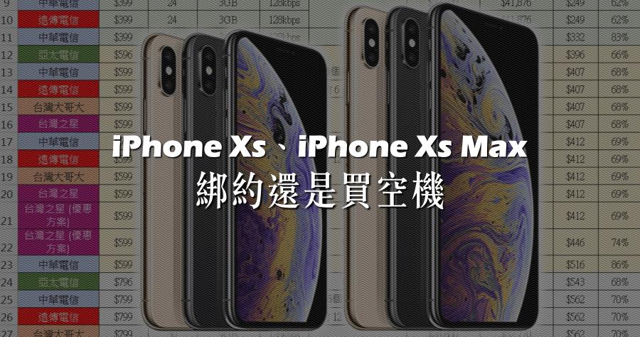 iPhone Xs / Xs Max 綁約還是買空機?電信資費全彙整 (中華/遠傳/台哥大/亞太/台灣之星) 電信資費試算分析!