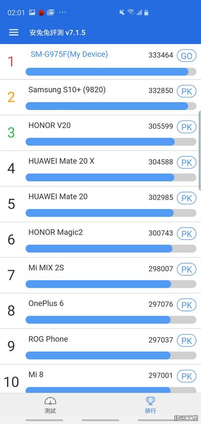 Samsung Galaxy S10+ 安兔兔跑分、3DMARK 跑分