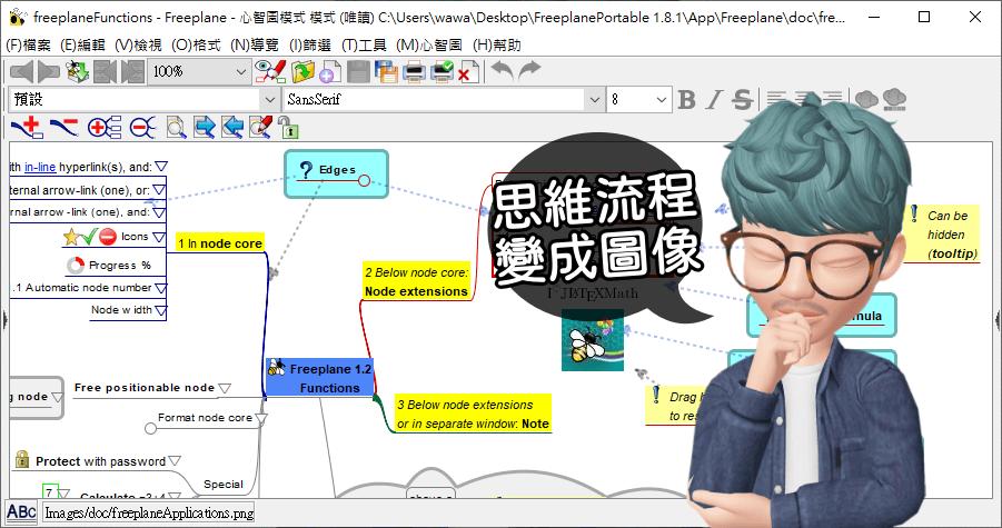Freeplane 可離線編輯的心智圖軟體,支援輸出 PDF PNG JPG SVG 等常用格式
