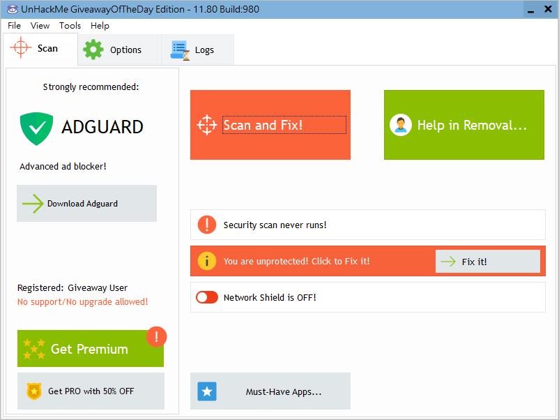 UnHackMe 專門設計用來檢測和清除 Rootkits 的安全工具