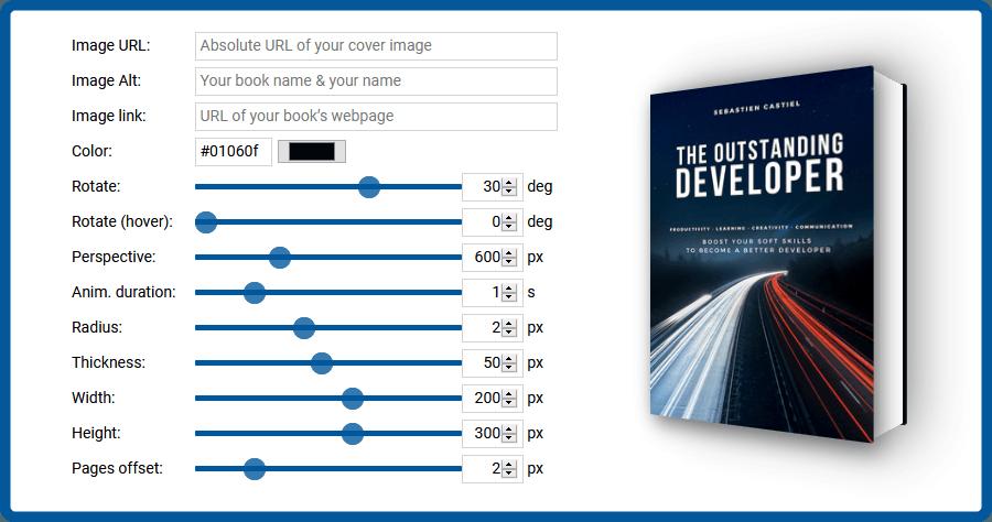 3D Book Image CSS Generator 免費產生 3D 書本效果,可自己設定書本封面圖片並產生 CSS 與 HTML 程式碼