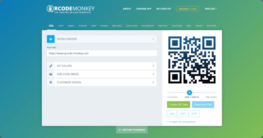 免費 QR Code 產生器 QRCode Monkey,樣式顏色隨你設計