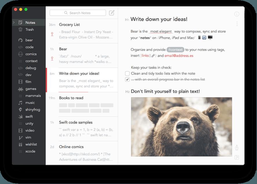 Bear 免費寫作筆記 App ,並支援 iPhone、iPad 和 Mac
