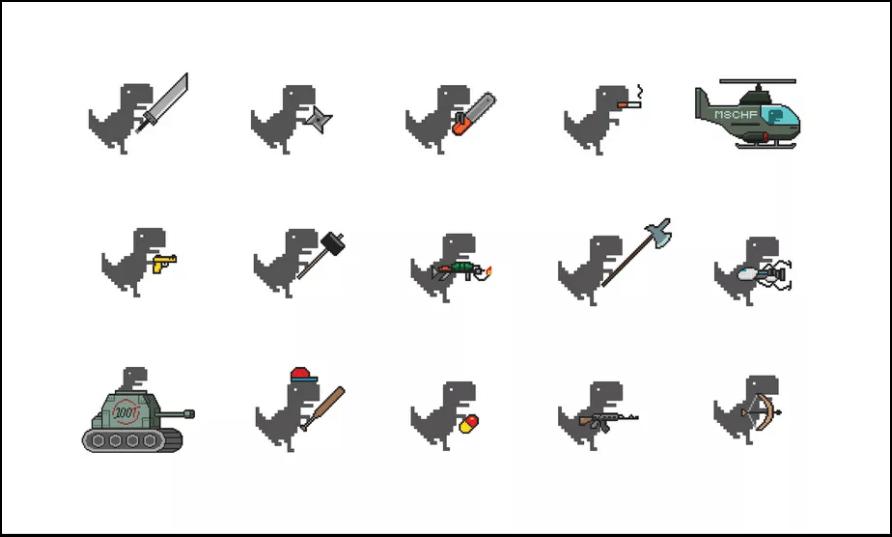 Dino Swords 改編過後的離線小恐龍遊戲 ! 擁有 26 種不同武器,不管電腦手機都能暢玩無阻 !