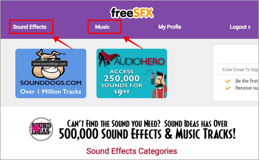 FreeSFX 擁有 50 萬種不同音效及背景音樂,可免費做商業使用
