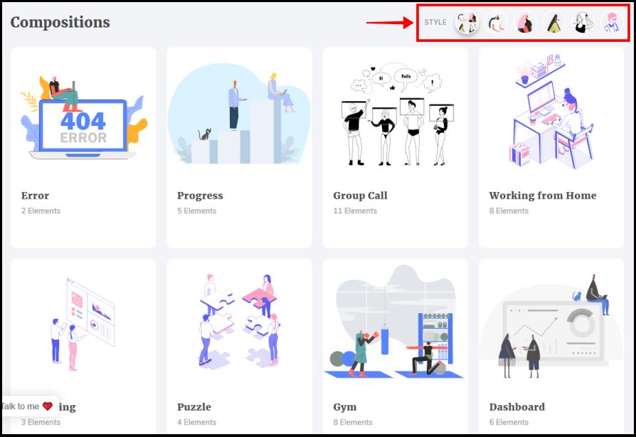 ITG.digital 線上自製插圖網,超過 1500 個向量插圖和 100 萬個獨特插圖組合任你挑選 !