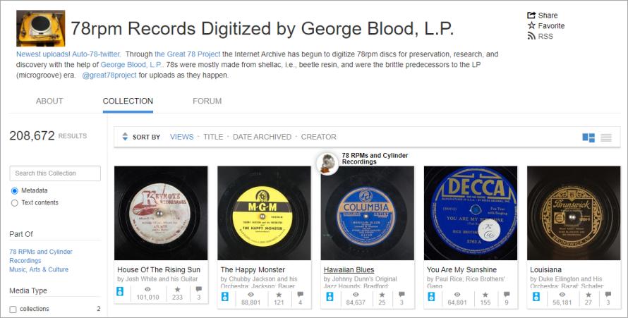 78rpm Records Digitized 收藏了超過 20 萬張古董級黑膠唱片,既可線上聽還能免費下載!