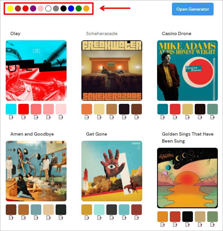 Album Colors 音樂專輯配色網,透過音樂專輯啟發你的配色構想!