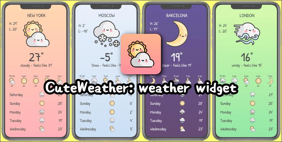 限時免費 CuteWeather 超可愛的 iPhone 天氣小工具,看到下雨也覺得很可愛!