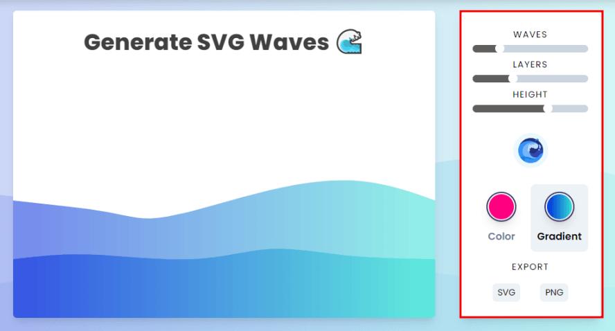 Svg Wave 免費線上波浪背景圖產生器,可自訂波峰、浪高、顏色漸層(SVG、PNG)