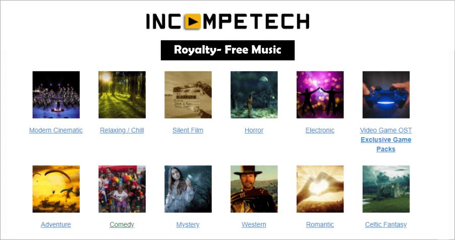 Incompetech 免費音樂素材庫,免註冊只需標記來源即可下載!