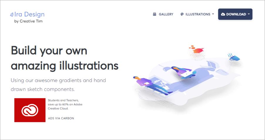 Ira Design 超精美漸層插圖素材網,可自訂顏色並可免費做個人與商業用途!