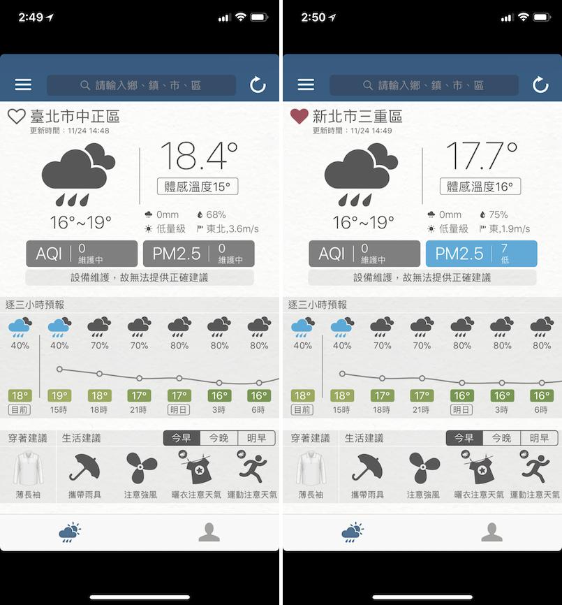 即時天氣預報 App 穿著建議