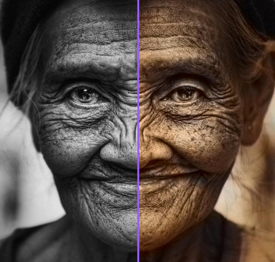老人 女人 皺紋 黑白 彩色
