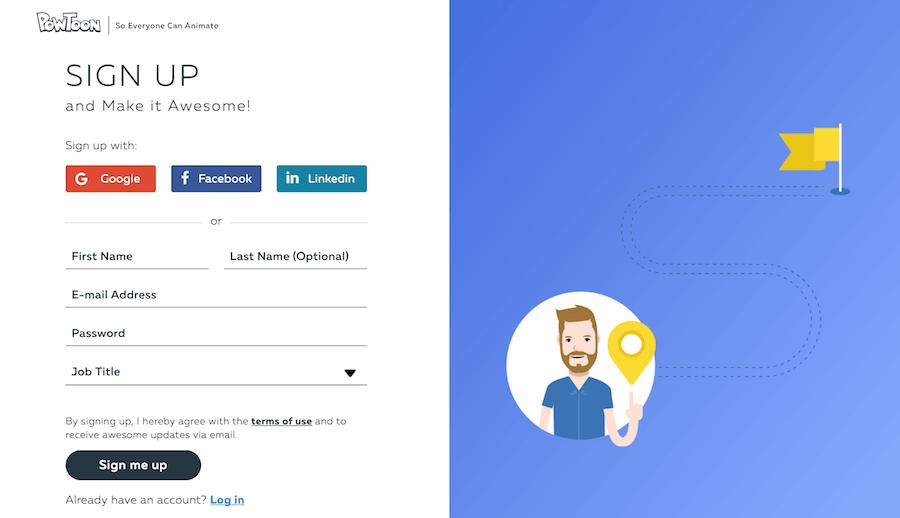 PowToon 開始製作 註冊 登入