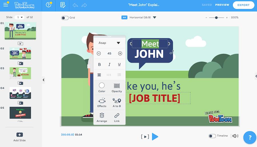 PowToon 編輯 文字大小 顏色 動畫 路徑 排列 連結 字型