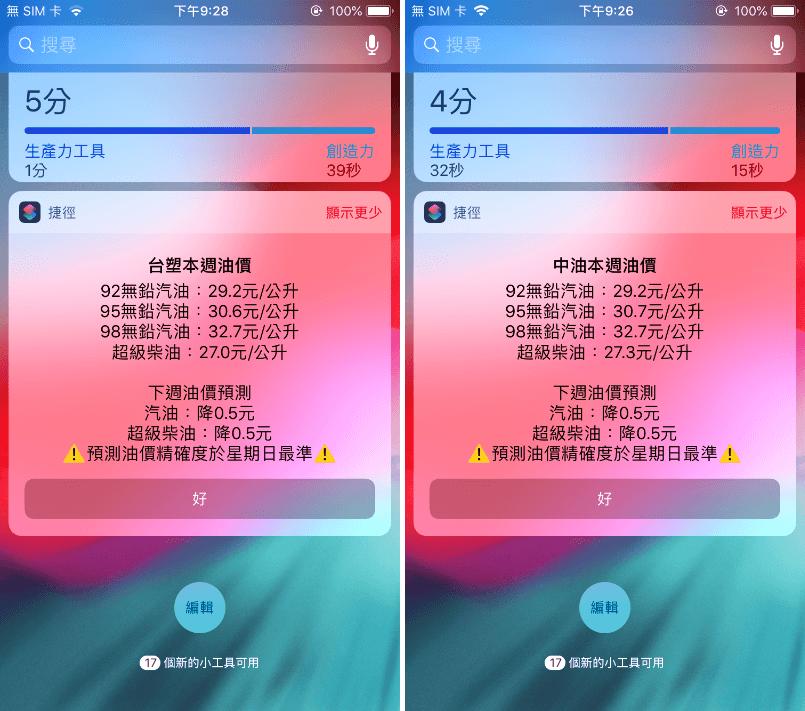 iPhone捷徑中油油價