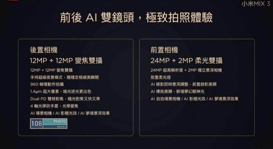 小米MIX3 台灣上市