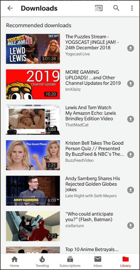 YouTube推薦下載功能