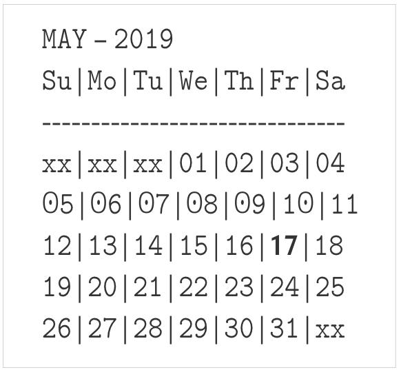 Unicode 月曆