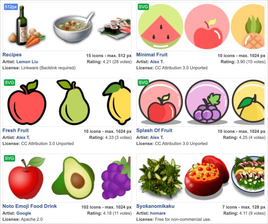 食物可商用去背圖示下載