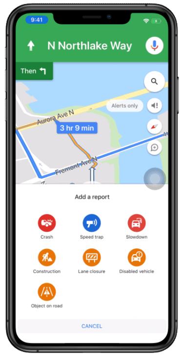 Google 地圖車禍回報