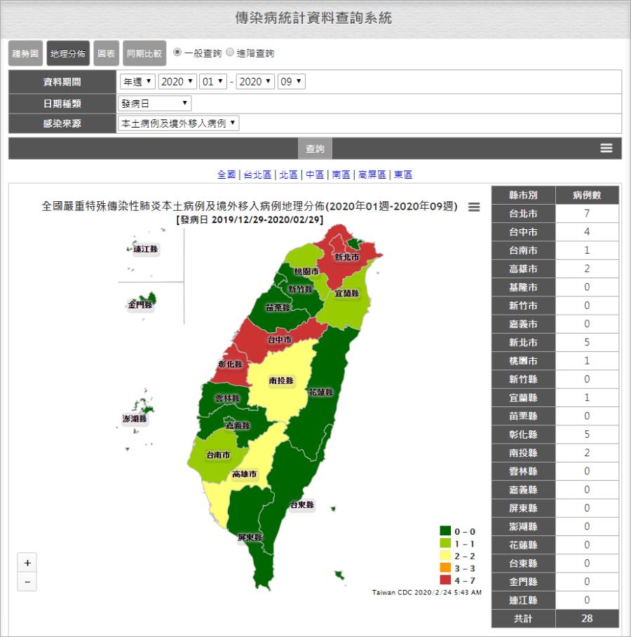 武漢肺炎各縣市感染地圖