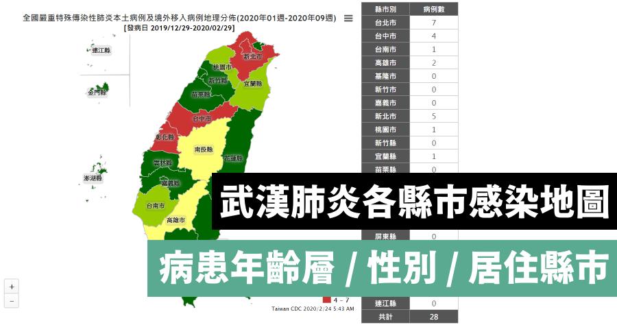 嚴重特殊傳染性肺炎縣市統計地圖