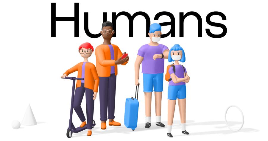 Humans 3D 卡通人像圖片素材,共有 80 種角色 20 種情境動作可自訂
