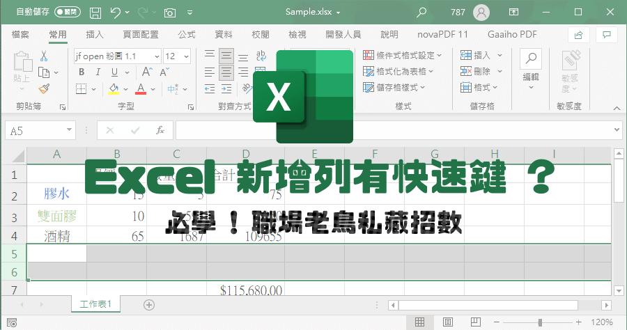 Excel新增多個空白列