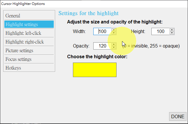 顯示鍵盤及滑鼠按鍵動作