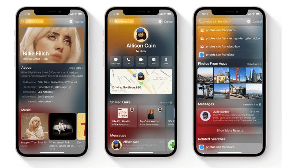 iOS 15 Spotlight 搜尋