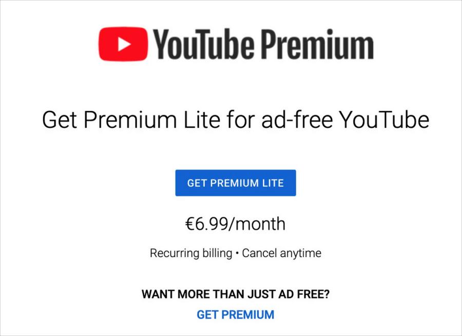 YouTube Premium Lite 價格
